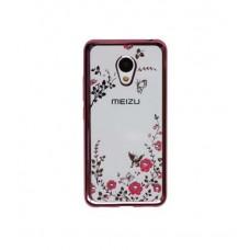 Чехол силиконовый для Meizu M3/M3 mini/M3s. Цветы и стразы