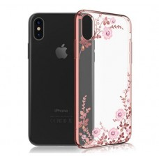 Чехол силиконовый для iPhone X Цветы и стразы