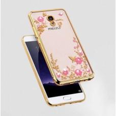 Чехол силиконовый для Meizu M5s Цветы и стразы