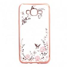 Чехол силиконовый для Samsung  Galaxy J7 Flowers