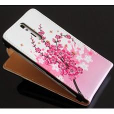 """Чехол кожаный для Sony Xperia S LT26i """"Flowers"""" + защитная пленка в подарок!"""